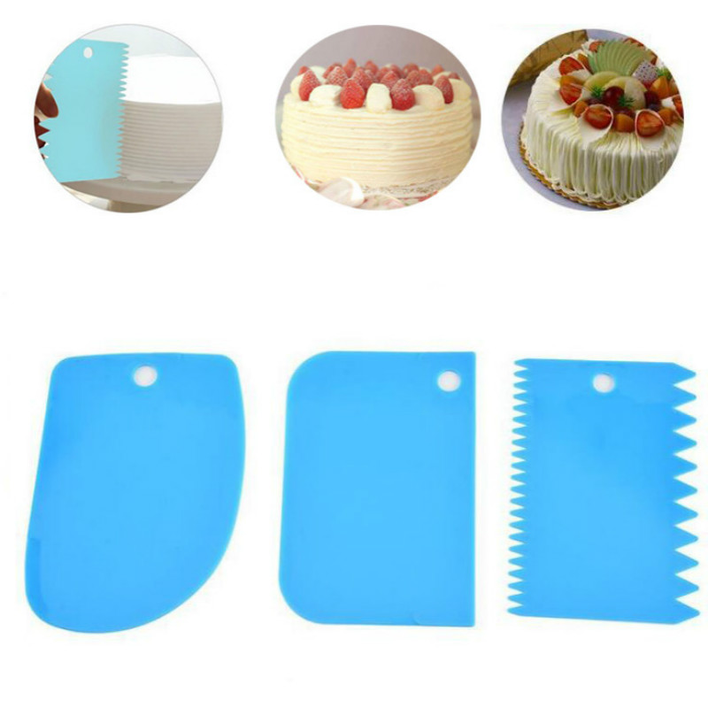 3 Pcs/Set Baking Pastry Tools Plastic Spatula Dough Scraper Plain Smooth Spatulas Cutters Cake Tool Confectionery Spatula Tools