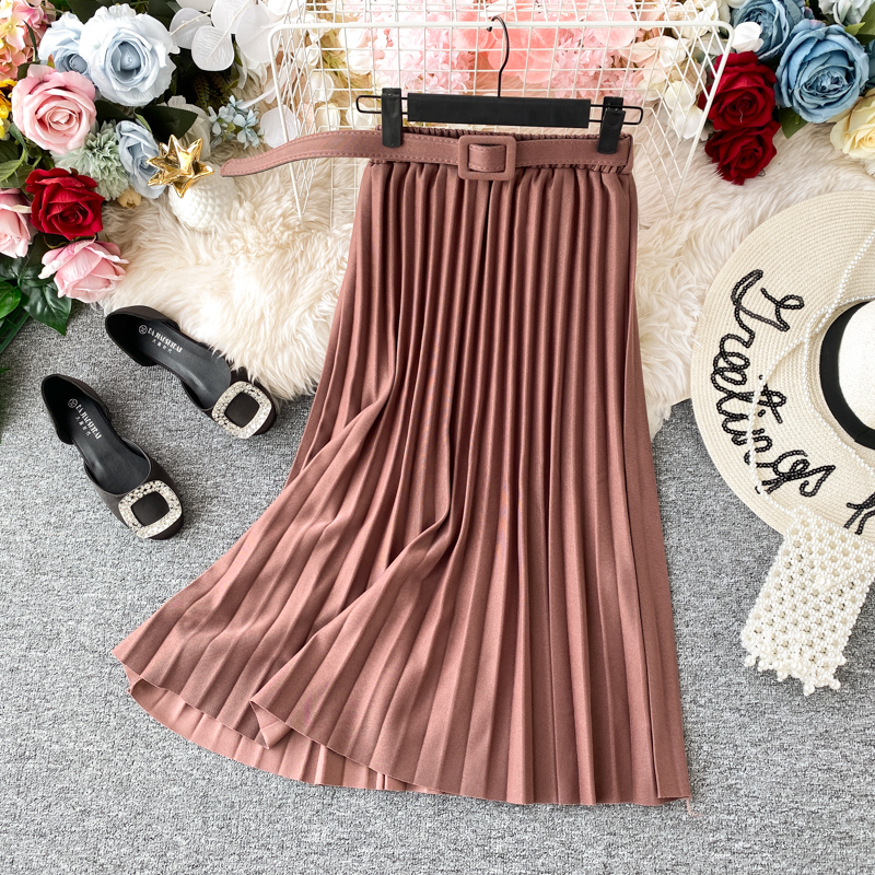 Women Pink Midi Skirts Belt High Waist Chiffon Pleated Long Skirts For Women Daily Office Skirts Saia Femme Jupe