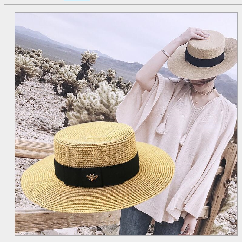 Handmade Weave 100%Raffia Sun Hats For Women Black Ribbon Lace Up Large Brim Straw Hat Outdoor Beach Summer Caps Chapeu Feminino image