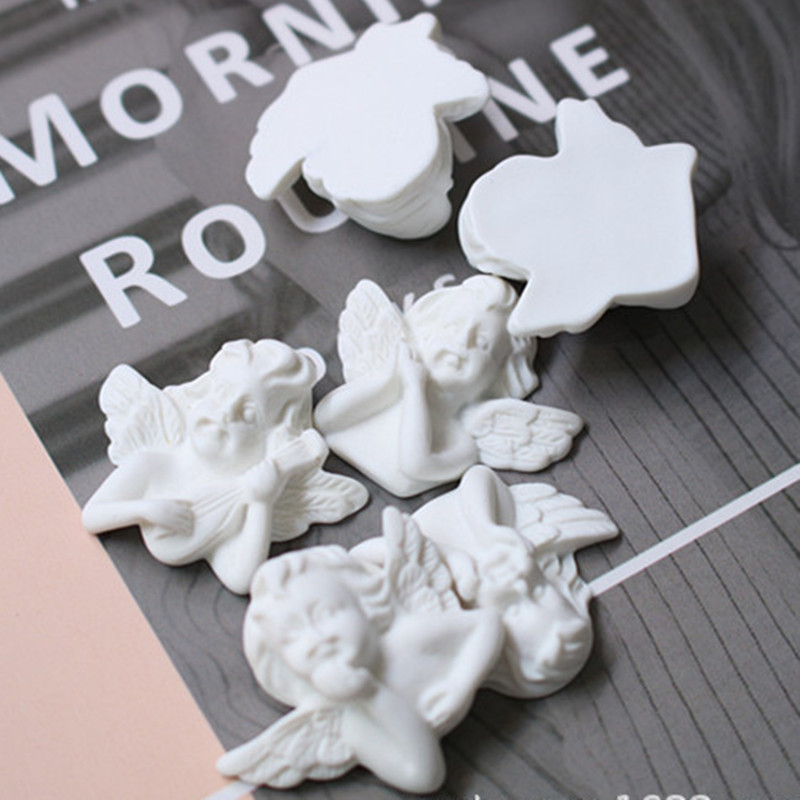 12pcs White Plastic Wing Angel Baby Angel Beads Charms Baby Shower Craft Decorations 32 X 25mm DIY Pendant Jewelry Supplies