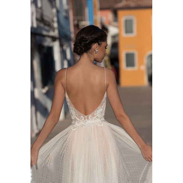 Eightree Beach Wedding Dress Boho vestido de noiva Bohemian Lace Bridal Dress Backless Spaghetti Straps V Neck Wedding Gowns 4