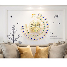 Watch Crafts Wall-Clock Diamond Peacock Gold Home Decoration Gift Metal Living-Room 3D