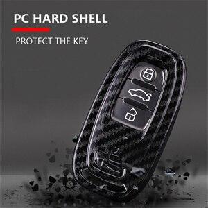 Image 4 - Carbon Fiber + Pc Bescherming Auto Sleutel Cover Case Voor Audi A6L A4L Q5 A3 A4 B6 B7 B8 Smart carbon Fiber Grain Shell Accessoires