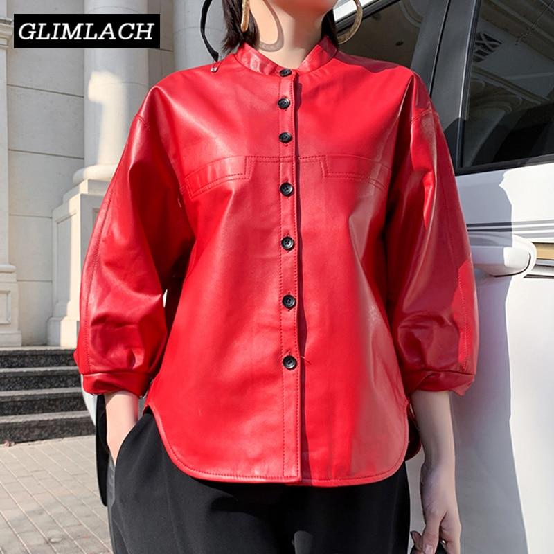 2019 New Oversize Style Leather Jacket Lady Real Sheepskin Loose Lantern Sleeve Genuine Leather Short Coat Women Casual Clothes