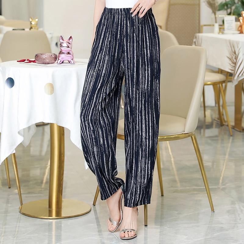 2020 New Summer Pants Women Vintage Elastic Waist Print Floral Elegant Trousers Female Casual Wide Leg Pants Plus Size XL-5XL