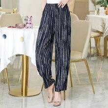 2020 neue Sommer Hosen Frauen Vintage Elastische Taille Drucken Elegante Hose Weibliche Beiläufige Breite Bein Hosen Plus Größe XL 5XL
