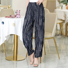 2020 yeni yazlık pantolonlar kadın Vintage elastik bel baskı çiçek zarif pantolon kadın rahat geniş bacak pantolon artı boyutu XL 5XL