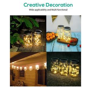 Image 5 - 8 Pack Solar Mason Jar Lights with 8 Handles,10 Led String Fairy Firefly Lights Lids Insert for Regular Mouth Jars Garden decor