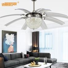 48 дюймов Хрустальные потолочные вентиляторы с лампами, украшения для дома, вентилятор с дистанционным управлением, лампа для спальни, гостиной, отеля, подвесной светильник