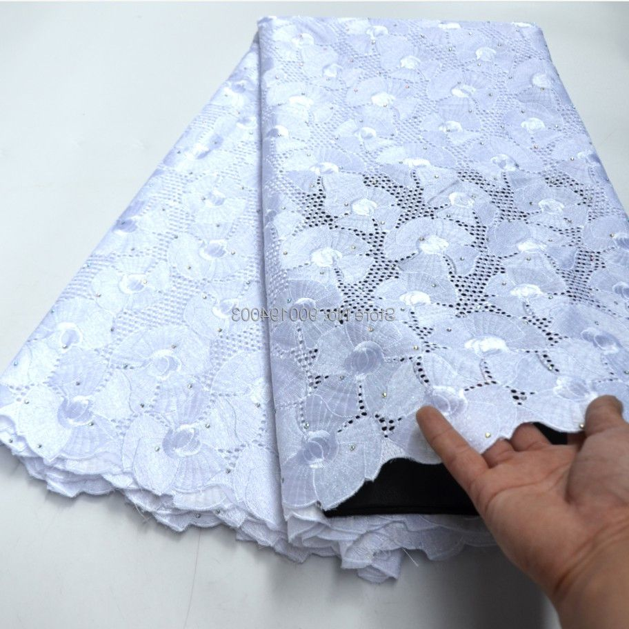 High Quality Big White African Swiss Voile Lace Fabric for Wedding Cotton african swiss voile dry lace in Switzerland -N88121