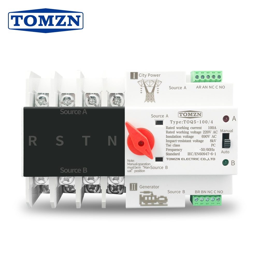 3 Phase Din Rail <font><b>ATS</b></font> Dual Power Automatic Transfer <font><b>Switch</b></font> Electrical Selector <font><b>Switches</b></font> Uninterrupted Power 4P 63A 100A TOMZN image