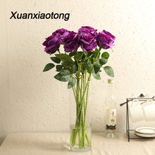 Xuanxiaotong 5pcs/set Purple Rose Artificial Silk Flowers Bouquet for Wedding Wreath Decoration Fall Home Decor