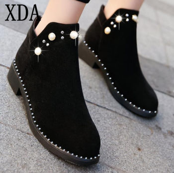 XDA New Classic Women Ankle Boots Autumn Winter Women Casual martin boots Thick Heel Suede Women Shoes Pearl Women Booties B241
