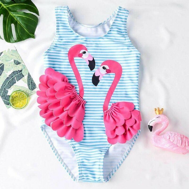 CANIS Flamingo Kid Baby Girl 3D Patchwork Striped Lovely One Piece Bikini Swimwear Bathing Suit Swimsuit Beach