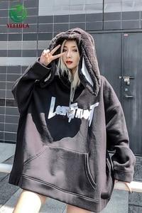 Image 5 - 2019 סתיו חורף קטיפה היפ הופ הסווטשרט זוג ארנב אוזן אישיות אופנה שחור סווטשירט ארוך שרוול גברים נשים למעלה