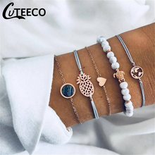 5 Pcs/ Set Bohemian Turtle Heart Map Pineapple Bead Chain Leather Multilayer Bracelet Women Fashion Clothing Accessories