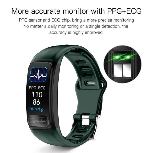 P12 ECG PPG SPO2 smart bracelet heart rate oxygen monitor blood pressure smart belt IP67 waterproof call reminder sports Band 3