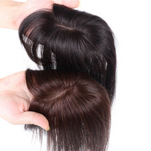 MANWEI Human Hair Topper Wig with bangs Increase the amount of hair on the top of the head to cover the white hair Hairpiece