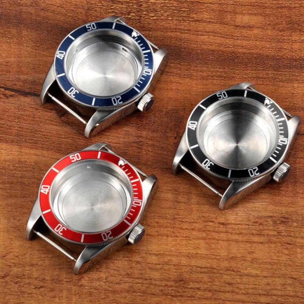 Pièces de montre 41mm boîtier en acier inoxydable pour montre en verre saphir montres tête convenable ETA 2824 2836 mouvement 3 couleurs de lunette