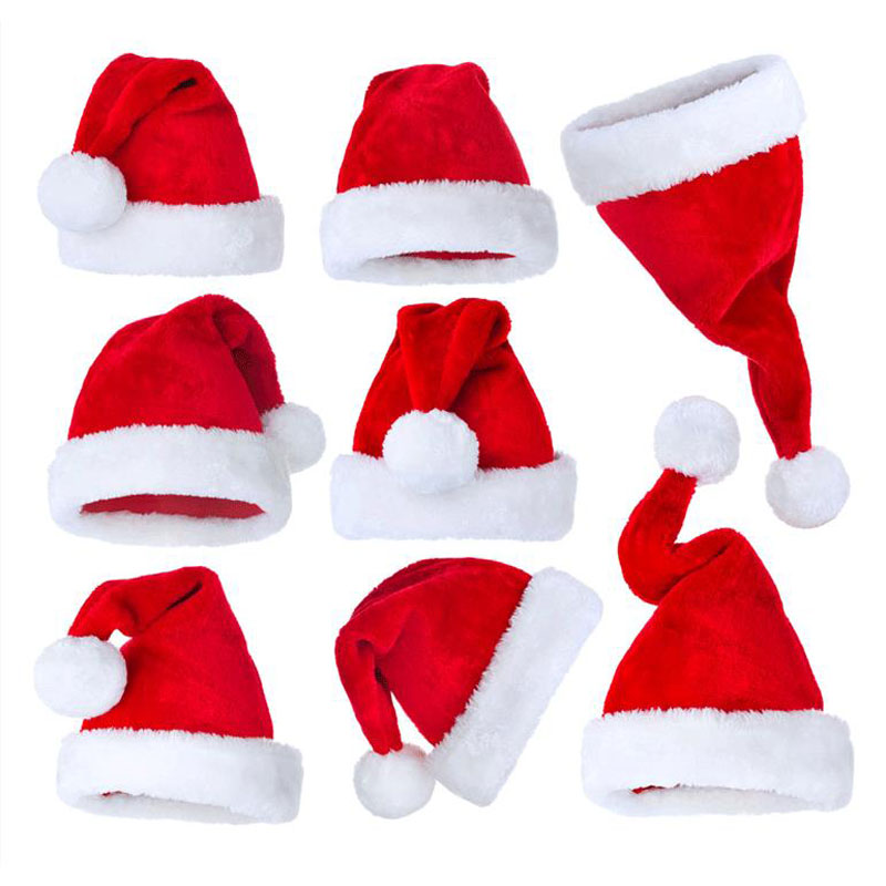 Navidad New Year Thick Plush Christmas Hat Kids Christmas Decorations For Home Santa Claus Gift Warm Winter