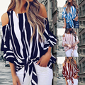 Summer Striped Print Blouse Women Loose Off Shoulder O-neck Butterfly Flare Sleeve Pullover Tops Female Fashion Large Size Shirt