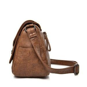 Image 2 - Duas tampas das mulheres do vintage saco de 2019 bolsas de luxo mulheres sacos designer de couro Macio feminino Saco pequeno mensageiro Bolsa de Ombro Aba