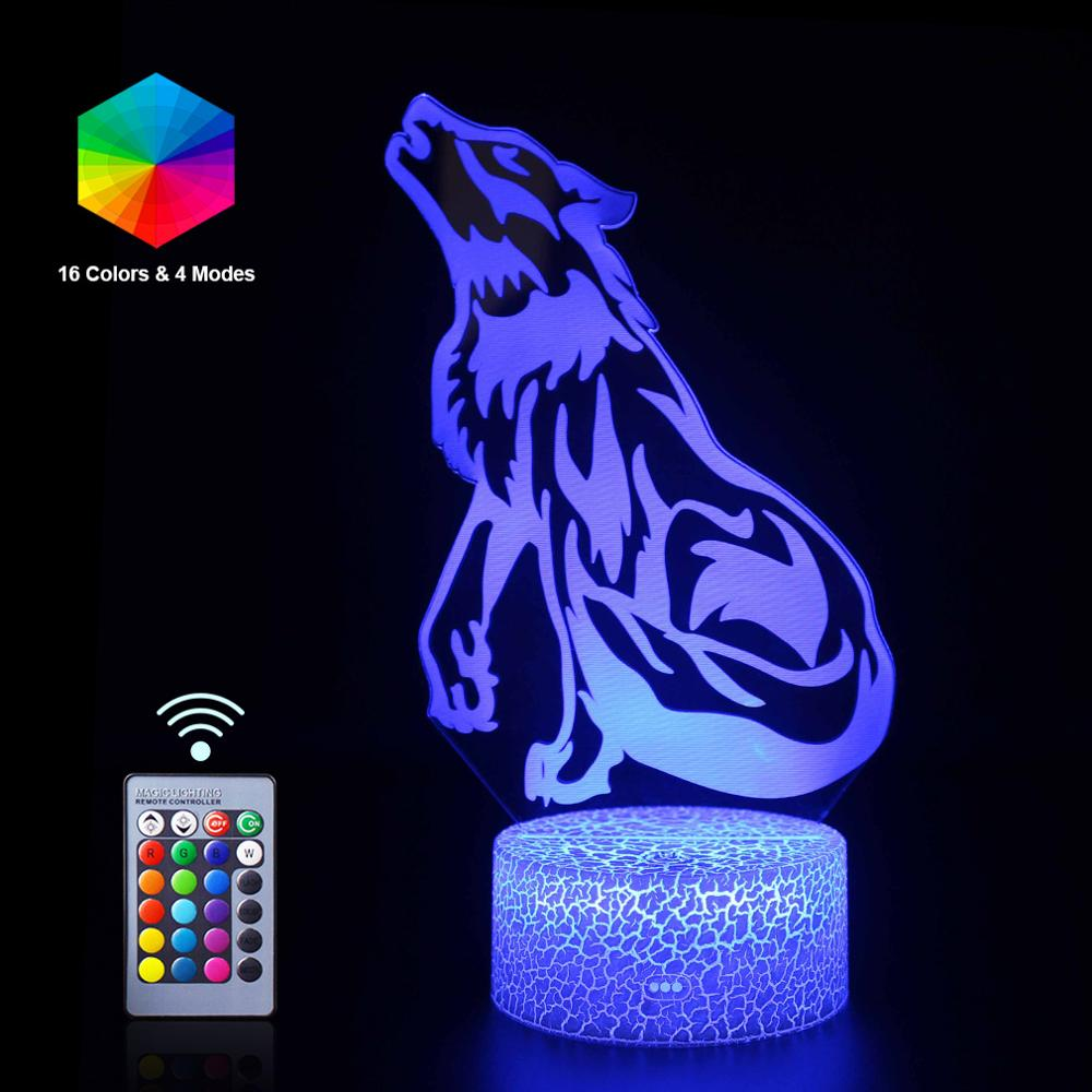 Wolf Remote 3D LED Night Light 16 Color Cartoon Table Lamp Sleep  NightLight Luminaria Kid Toy Birthday Christmas Halloween Gift