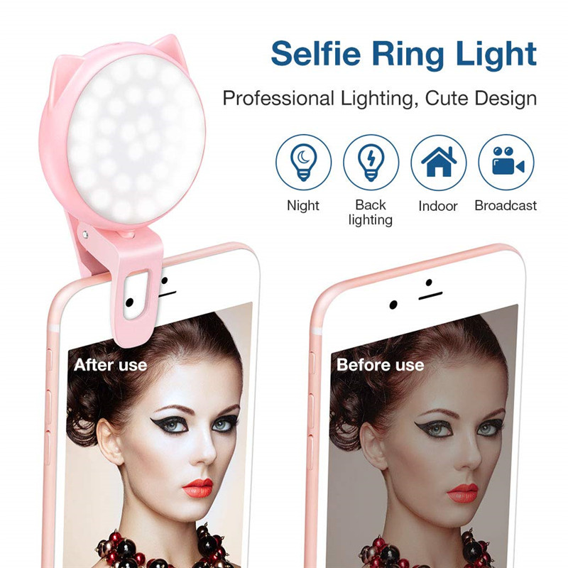 Clip ON Selfie Light Ourry Again Kitty FILL IN Camera Ring Light Adjustable 32 LED 9 Light Effects For IPhone Android Cell Phone