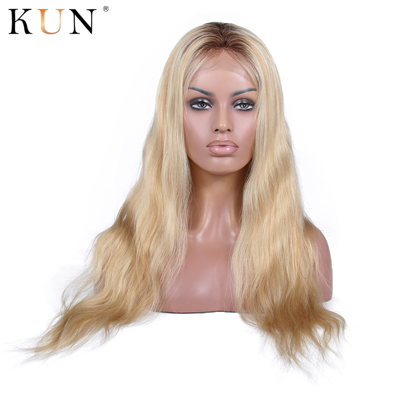 T4 613 Honey Blonde Wig Full Lace Human Hair Wigs Full End 150% Wavy Glueless Full Lace Wig Transparent Lace Wigs Remy 8-24
