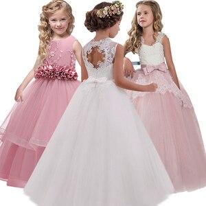New 2020 Girls'Back Hollow Flower Dress Flower Boy High-end Wedding Dress Elegant Girls' Flower-lace Banquet Dress