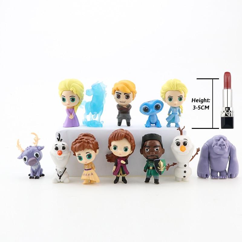12pcs/Lot Q Version Elsa Anna Olaf Kristoff Sven Bruni Nokk Earth Giants Queen Princess PVC Figures Brinquedo Figurine Toys Set