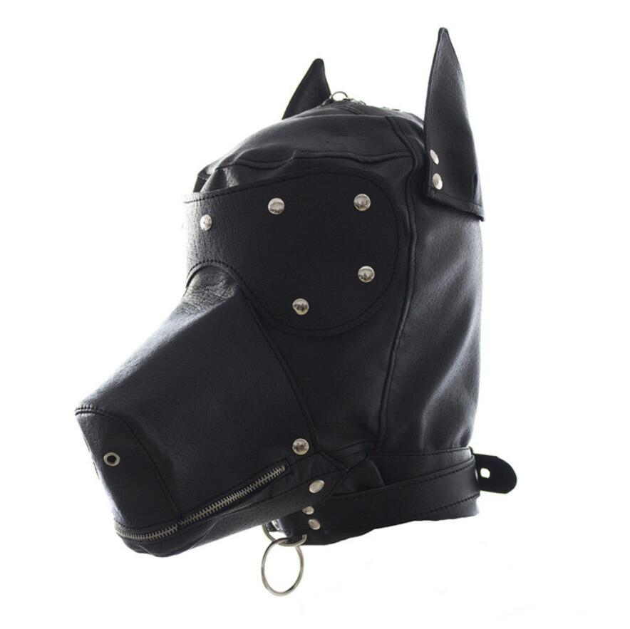Sexy Bondage Hood Fetish Zipper Mouth <font><b>Dog</b></font> <font><b>Mask</b></font> <font><b>Sex</b></font> Toys For Woman Couples Restraints Adult Games PU Leather Bdsm Hood <font><b>Sex</b></font> <font><b>Mask</b></font> image