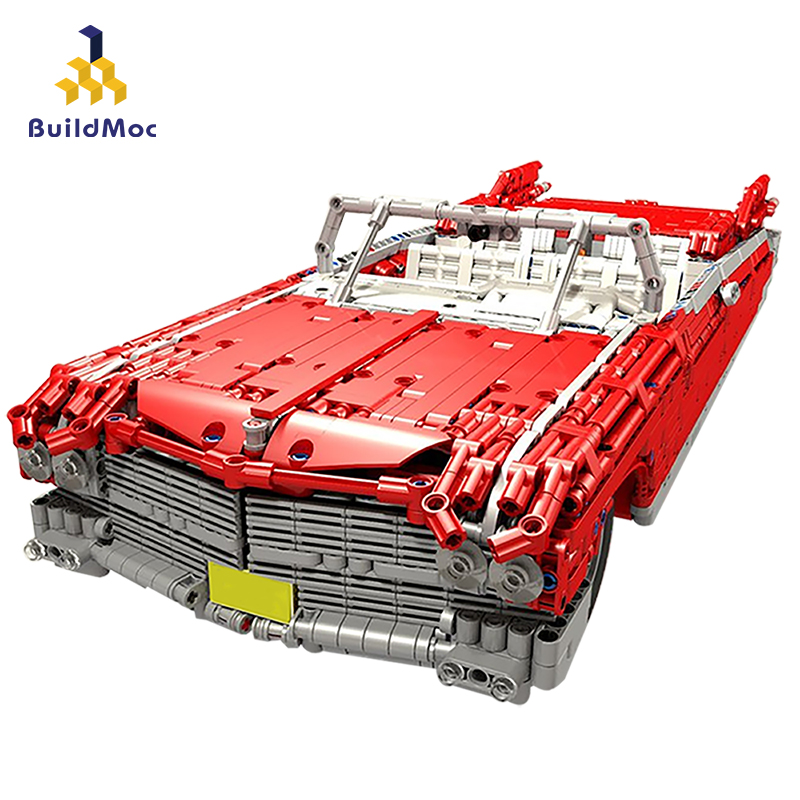 BuildMoc Technic Series Lepins Roadster Cadillac RC Car The MOC-3078 Veneno Roadster Function Model Kit Building Block Brick Toy
