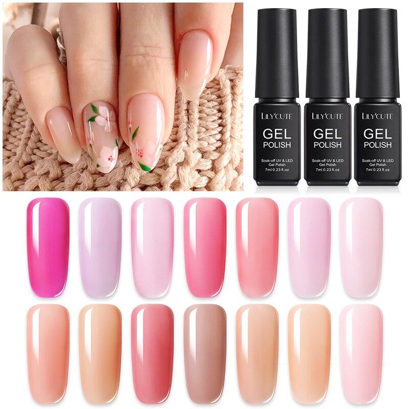 LILYCUTE 7ML UV Gel Nail Polish Pink Series Semi-transparent Soak Off Gel Nail Varnish Long Lasting Nail Gel Varnish Nail Art