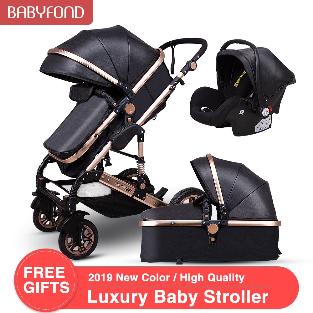 Babyfond <font><b>3</b></font> <font><b>in</b></font> <font><b>1</b></font> <font><b>baby</b></font> strollers Two way newborn <font><b>baby</b></font> carriage 0~36 months <font><b>baby</b></font> <font><b>pram</b></font> gold frame brand Luxury pu strollers image