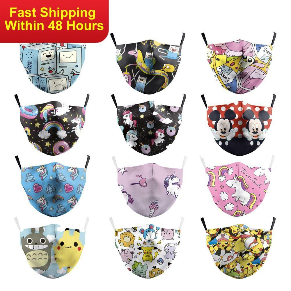 Zawaland  Adult Polyester Mask Kawaii Cartoon Printed Anime Multicolor Masks Dust-Proof Pm2.5 Anti Haze Reusable Outdoor Masks