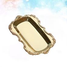Prostokąt ręcznik przekąski taca ciasto danie owoce talerzyk deserowy dekoracyjne zastawy stołowe na wesele strona główna (złoty) tanie tanio AE (pochodzenie) ROUND RUBBER Other