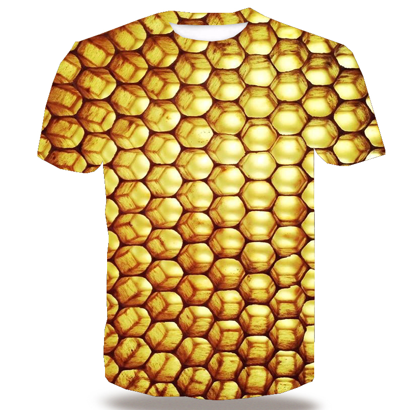 UNEY Honeycomb Shirt For Men Insect US Size Bee T Shirt 3D Pattern Short Sleeve Tops Floral Tees Honey Paint Plus Size Tee