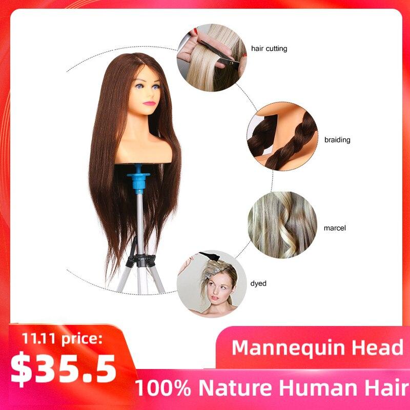 100% Nature cheveux humains Mannequin tête pour coiffures professionnel barbier pratique tête outil de coiffure tête factice pour coiffeur