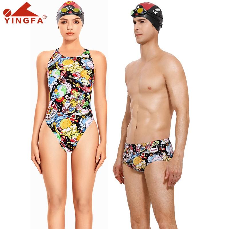 Yingfa nova impressão digital treinamento profissional competição maiô feminino corrida de secagem rápida anti-cloro banho feminino