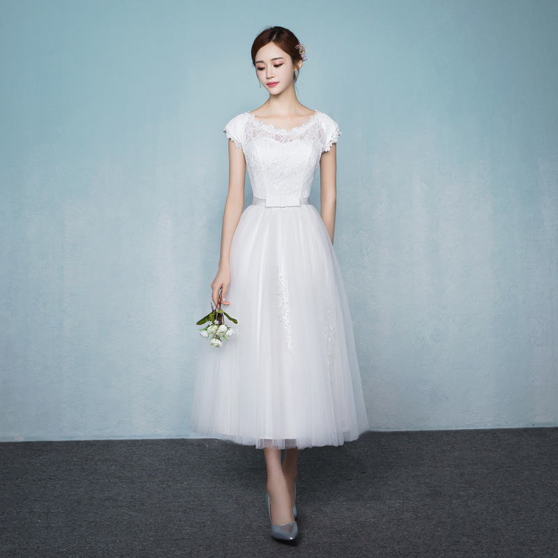 Lace Tulle White Bridesmaid Dresses A Line Formal Short Sleeves Simple Wedding Guest Party Dress Tea Length Lace Up Back  JQ630