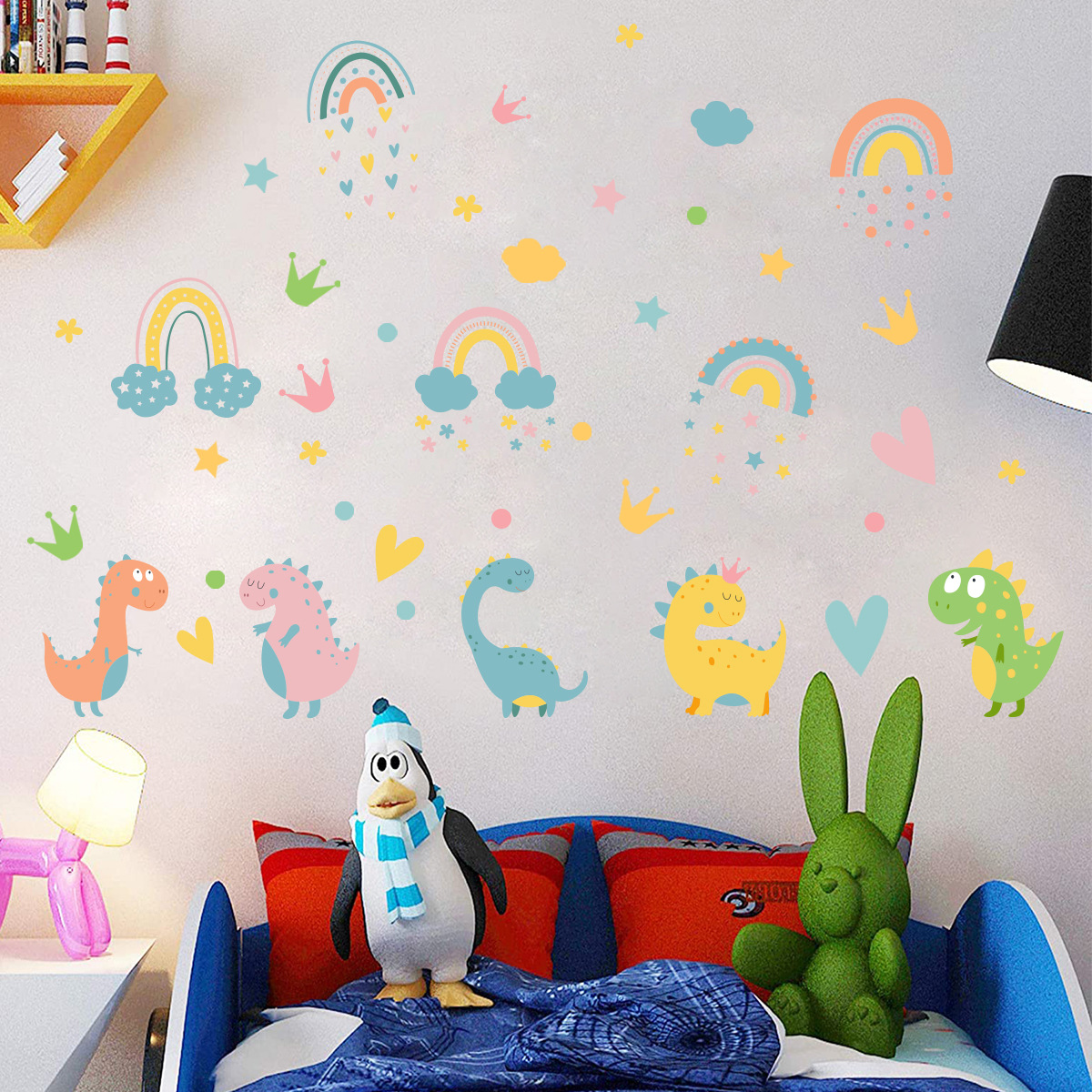 Dinosaur colorful clouds and stars creative wall stickers Living room bedroom background wall decoration wall stickers
