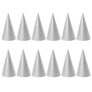 12PCS Glitter Cone Party Hats Triangle Birthday Hats for Kids and Adults Party Decorations (Golden)