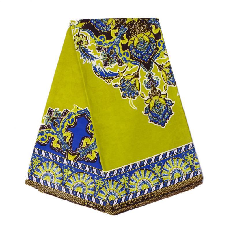 Latest Arrivals African Fabric Veritable 100% Cotton Yellow And Blue Flower Print Fabric Guarantee Real Dutch Wax 6Yards\lot