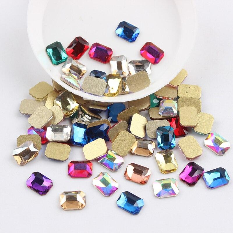 Все смешанные цвета, 30 шт, стразы для дизайна ногтей, сделай сам, без горячей фиксации, стеклянные камни для ногтей, драгоценные камни для 3D украшения для ногтей - Цвет: 6x8mm Re-octagonal