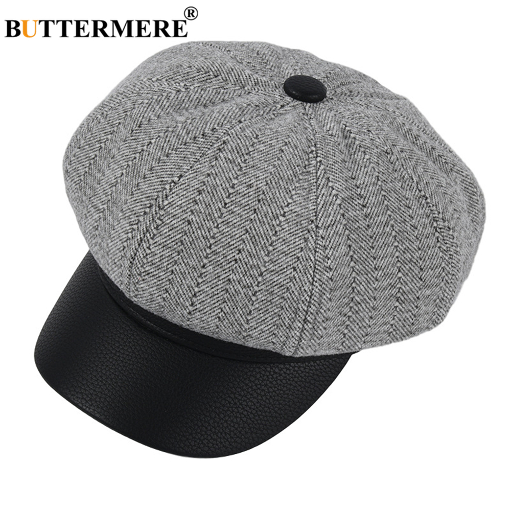Fanct Womens Newsboy Beret Hat Vintage PU Leather British Style Flat Top Octagonal Cap,Winter Outdoor Windproof Adjustable Hat Purple