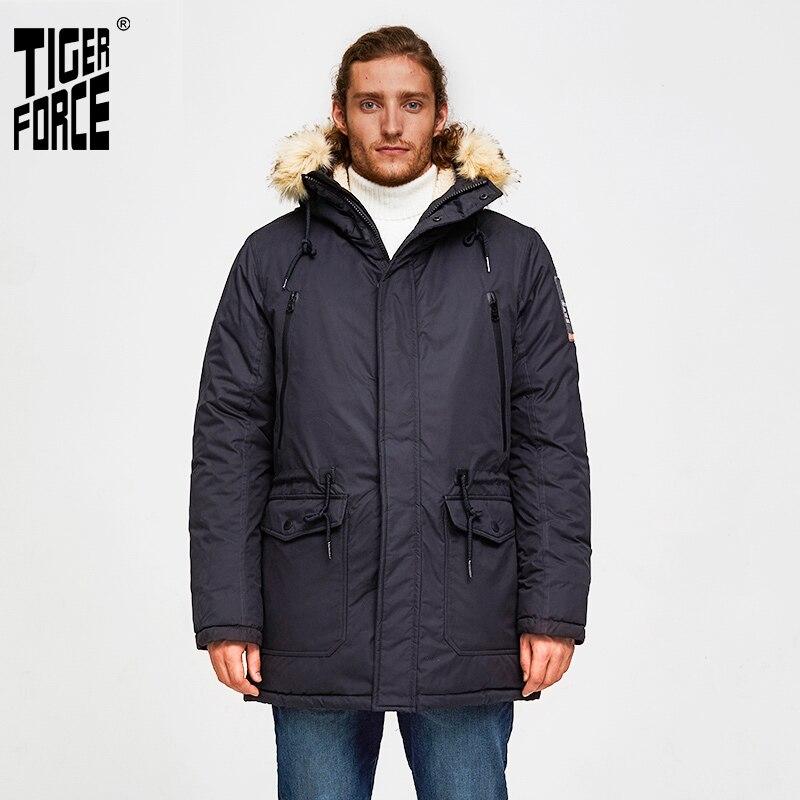 TIGER FORCE -30 Degree Men Winter Jacket Medium-Long Padded Parka Hooded Slim Warm Coat Artificial Fur Collar Thicken Overcoat