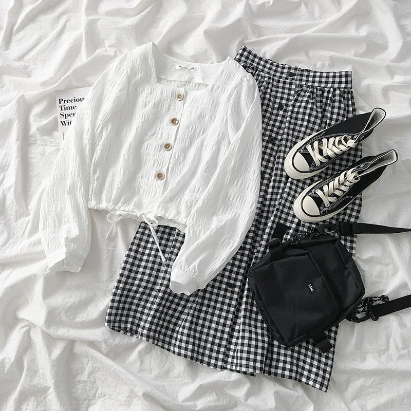 Elegant Plaid Skirt Women Casual White Long Sleeve Shirt + High Waist Maxi A-line Skirt Female Fashion Two Pieces Matching Set