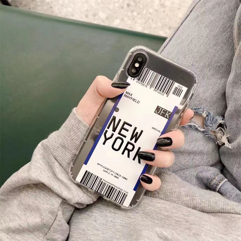 ins US City Label Bar code Phone Case For iPhone 11 Pro Xs MAX XR X