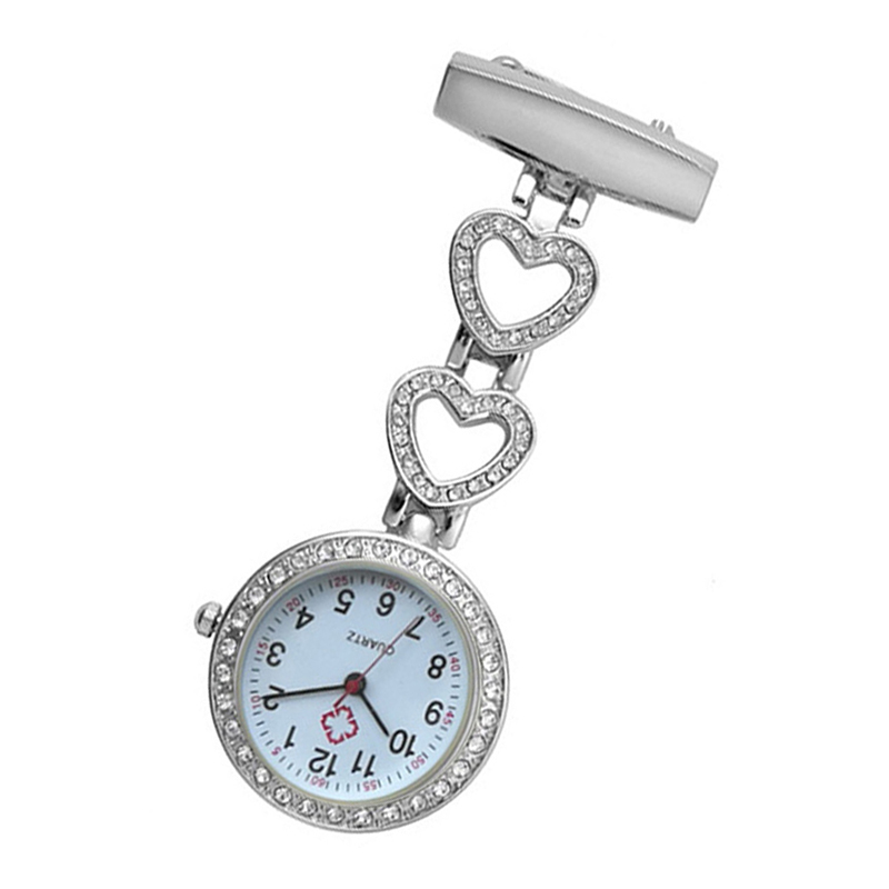 Fashion Women Pocket Watch Clip-on Heart/Five-pointed Star Pendant Hang Quartz Clock For Medical Doctor Nurse Watches UND Sale